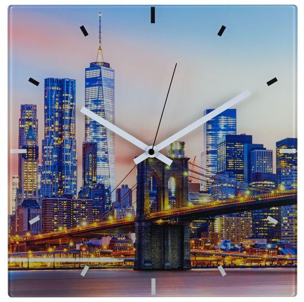 Analoge Funk-Wanduhr aus Glas NEW YORK