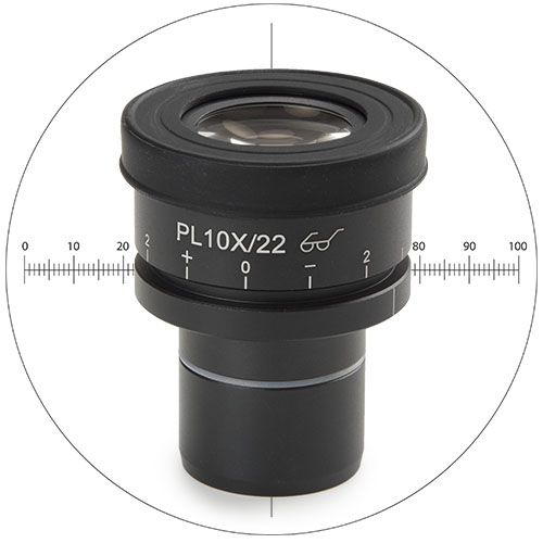 Euromex Wide field eyepiece HWF 10x/22 mm with reticle for Oxion Inverso inverted micrososcopes