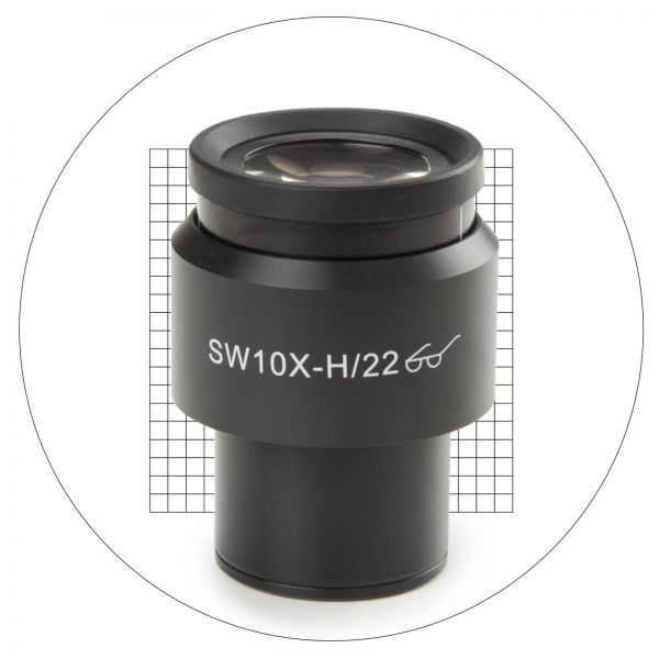 Euromex Super wide field SWF 10x/22 mm eyepiece with 20 x 20 square grid reticle. For ö 30 mm tube f