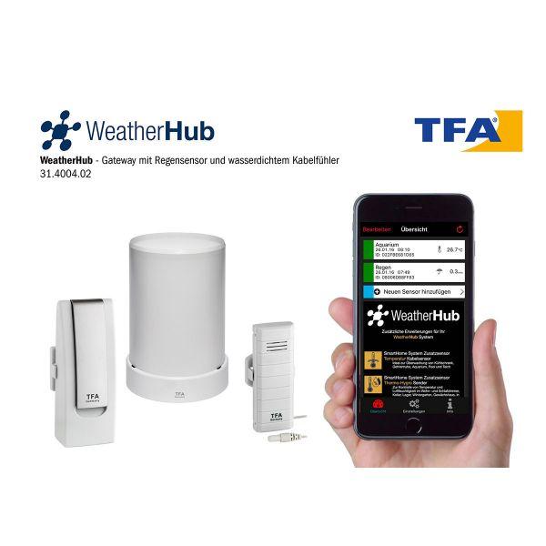 TFA Starterset mit Temperatursender und Funk-Regenmesser WEATHERHUB 31.4004