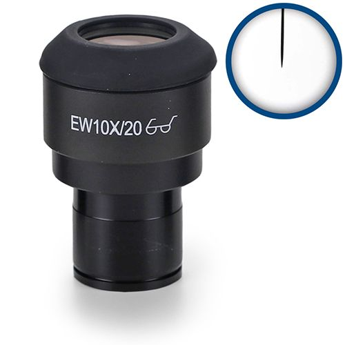 Euromex EWF10x/20 mm micrometer eyepiece with pointer for iScope, 23,2 mm tube
