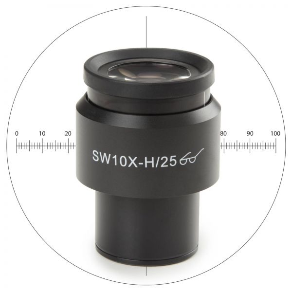 Euromex Super wide field SWF 10x/25 mm eyepiece with micrometer and cross-hair for Ø 30 mm tube for