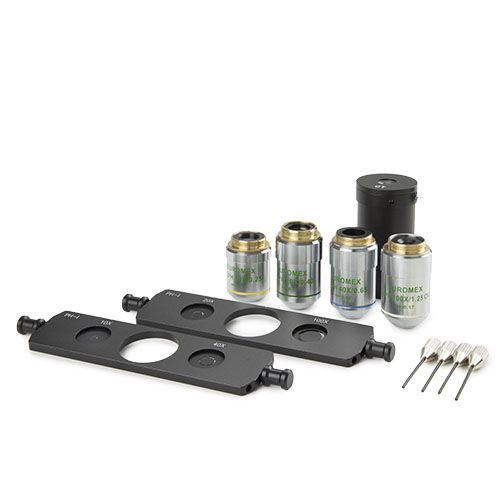Euromex Slider phase contrast kit with plan phase 10x/20x/40x/S100x oil objectives and 2 sliders wit