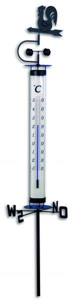 Analoges Gartenthermometer mit Wetterhahn und Windrad 12.2035
